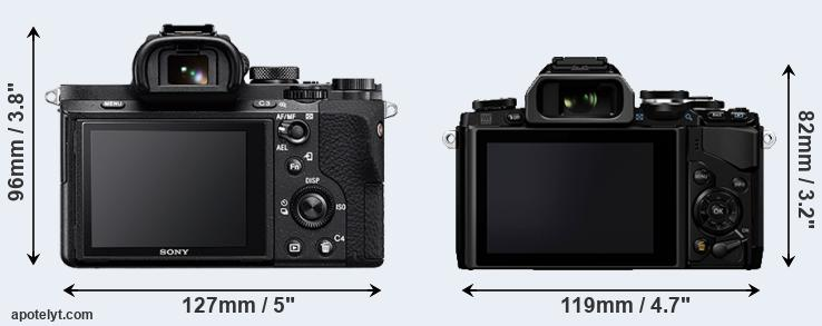 A7 II and E-M10 rear side