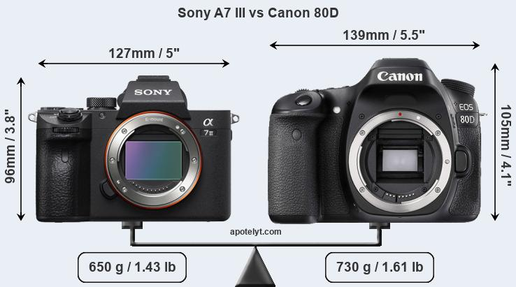 Size Sony A7 III vs Canon 80D