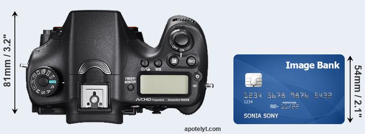 A77 II versus credit card top view