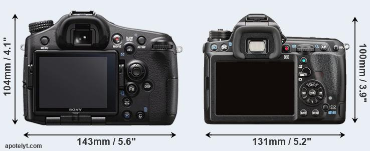 A77 II and K-3 II rear side