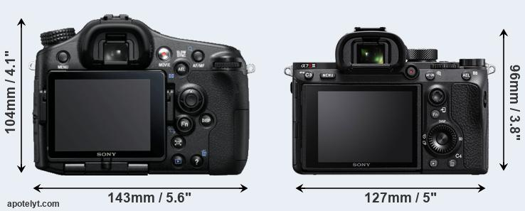 A77 and A7R III rear side