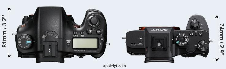 A77 versus A7R III top view
