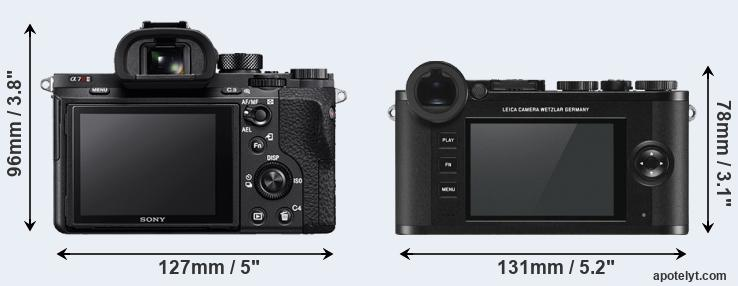 A7R II and CL rear side