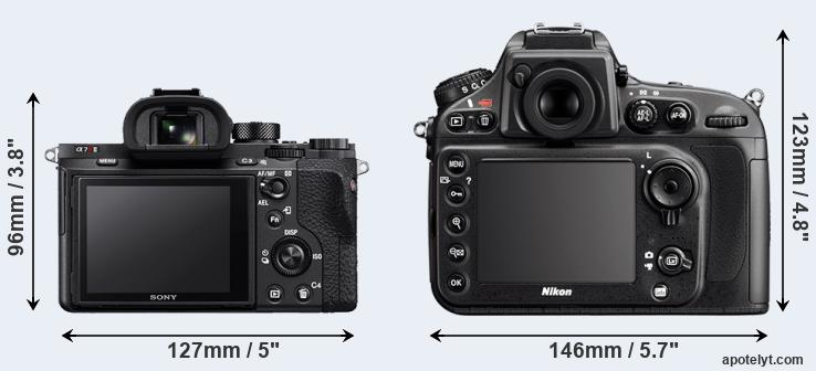 A7R II and D800 rear side