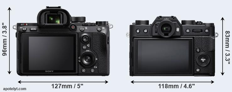 A7R III and X-T20 rear side