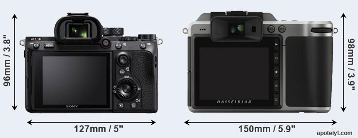 A7R III and X1D rear side