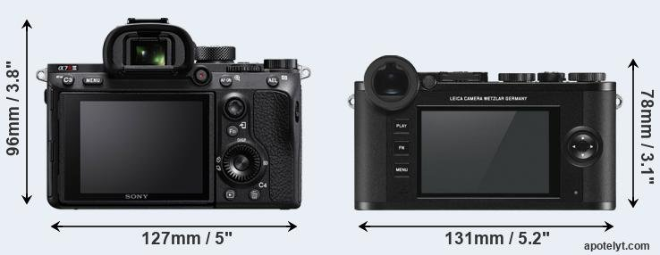 A7R III and CL rear side