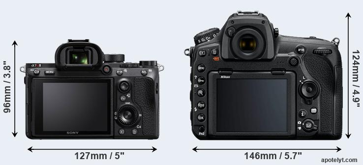 A7R III and D850 rear side