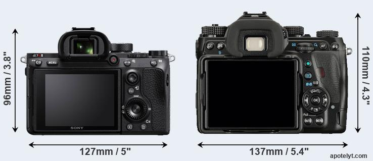A7R III and K-1 rear side
