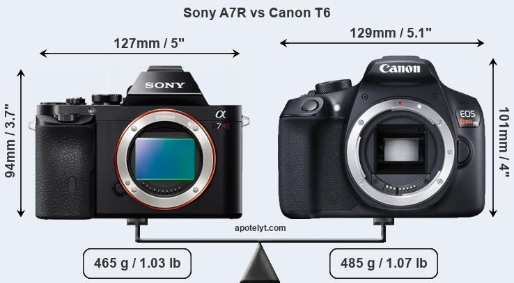 Compare Sony A7R and Canon T6