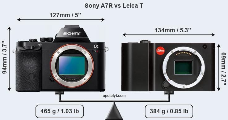 Size Sony A7R vs Leica T