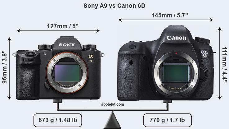 Sony A9 vs Canon 6D front