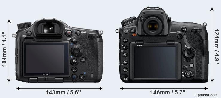 A99 II and D850 rear side