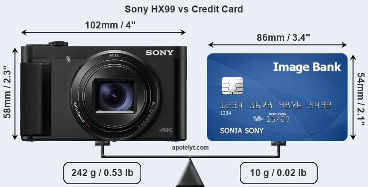 Sony HX99 vs credit card front
