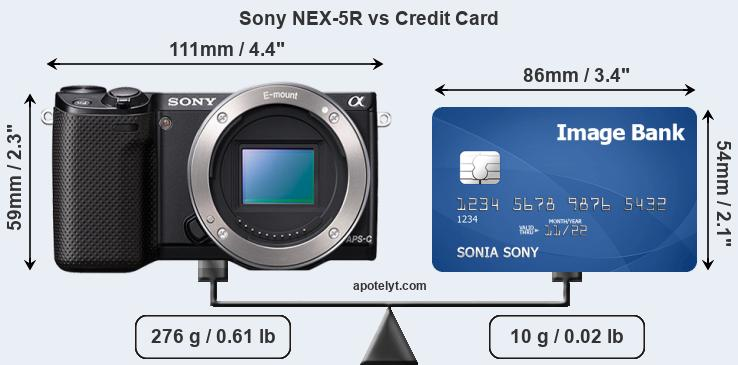 Sony NEX-5R vs credit card front