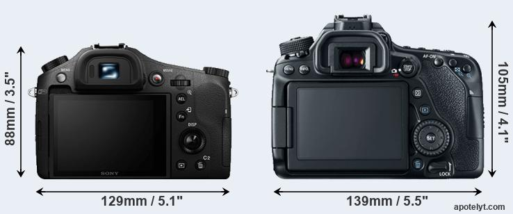 RX10 II and 80D rear side