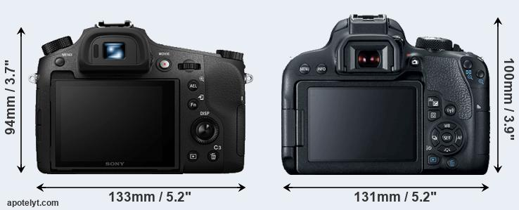 RX10 III and 800D rear side