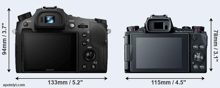 RX10 IV and G1X Mark III rear side