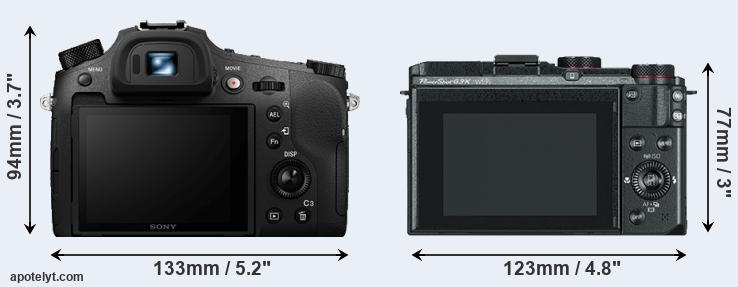 RX10 IV and G3X rear side