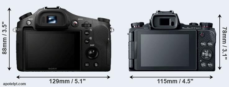 RX10 and G1X Mark III rear side