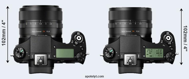 RX10 versus RX10 II top view
