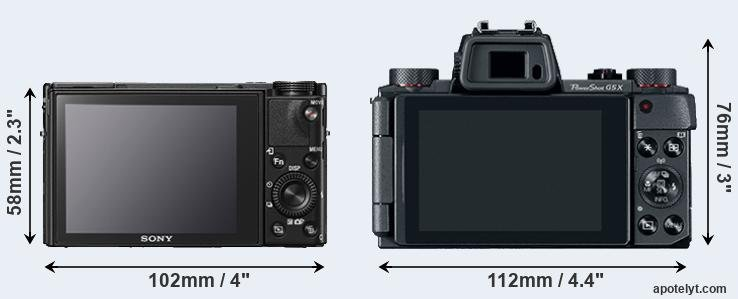 RX100 V and G5X rear side