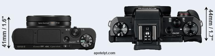 RX100 V versus G5X top view