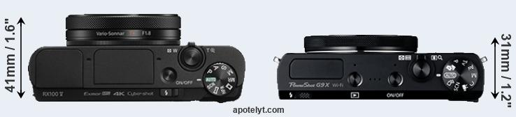RX100 V versus G9X top view