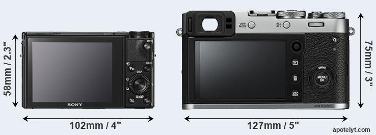 RX100 V and X100F rear side