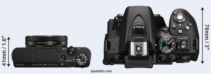RX100 V versus D5300 top view