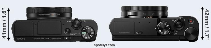 RX100 V versus LX15 top view