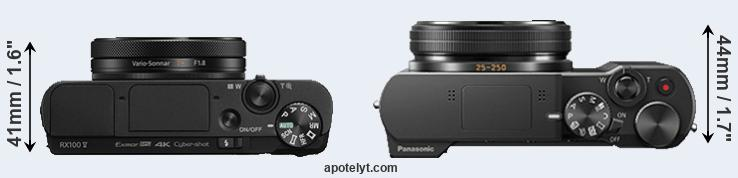 RX100 V versus ZS100 top view