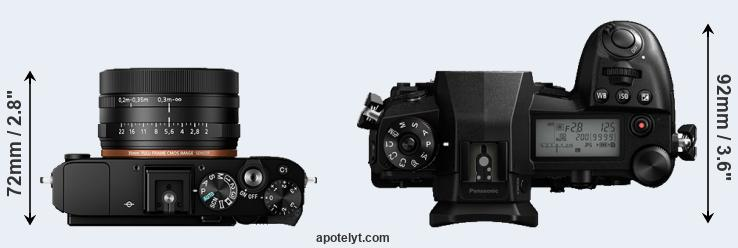RX1R II versus G9 top view