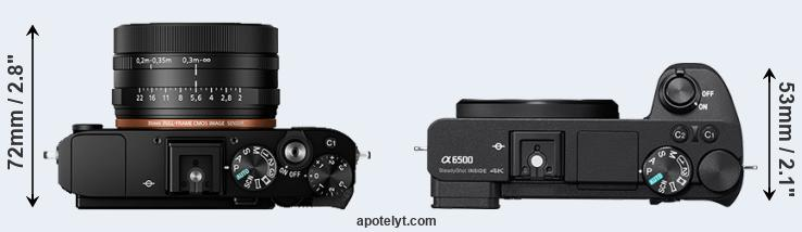 RX1R II versus A6500 top view